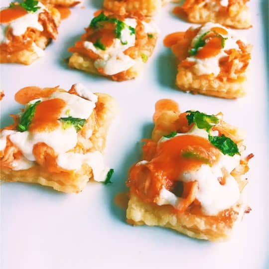 Baked Buffalo Chicken Pastry Bites (with brown sugar)