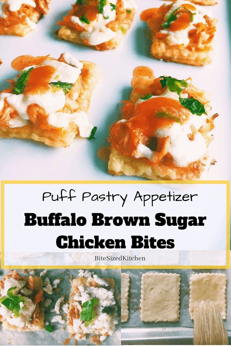 A fun bite sized finger food appetizer for any party! These puff pastry shredded chicken appetizers is an easy recipe that can be made ahead and reheated in the oven. The buffalo sauce makes these bites ideal for football season or any large party!