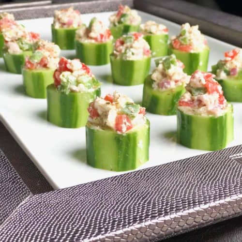 Greek Salad Horiatiki Cucumber Cups | Easy Cold Appetizer