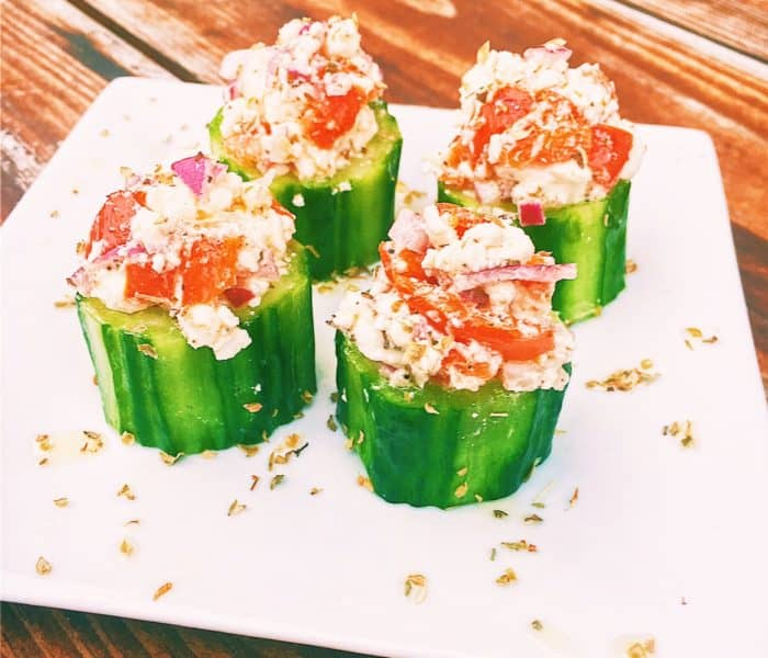 Greek Salad (Horiatiki) Cucumber Cups