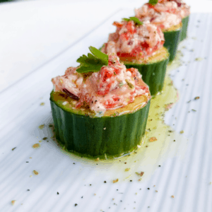 KETO Greek Salad Cucumber Cups with feta