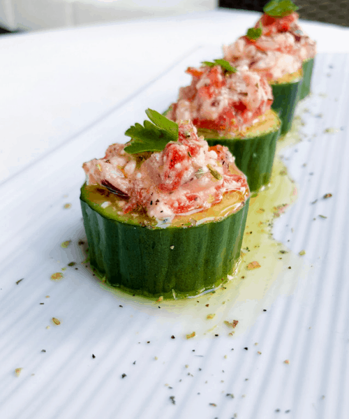 Stuffed Greek Salad Cucumber Cups Appetizer! An easy recipe for any party!