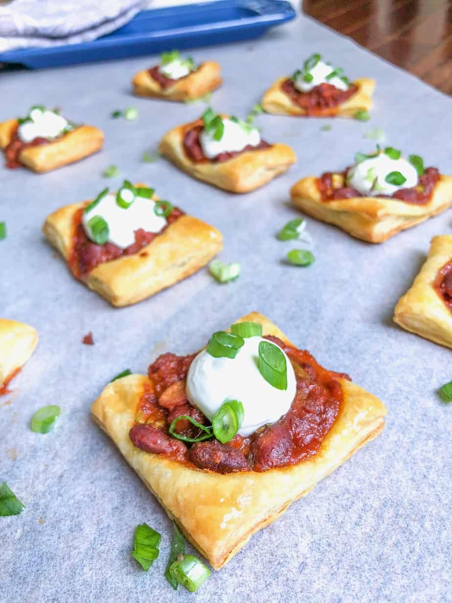 Savory Puffed Pastry Dough With Chili and sour cream