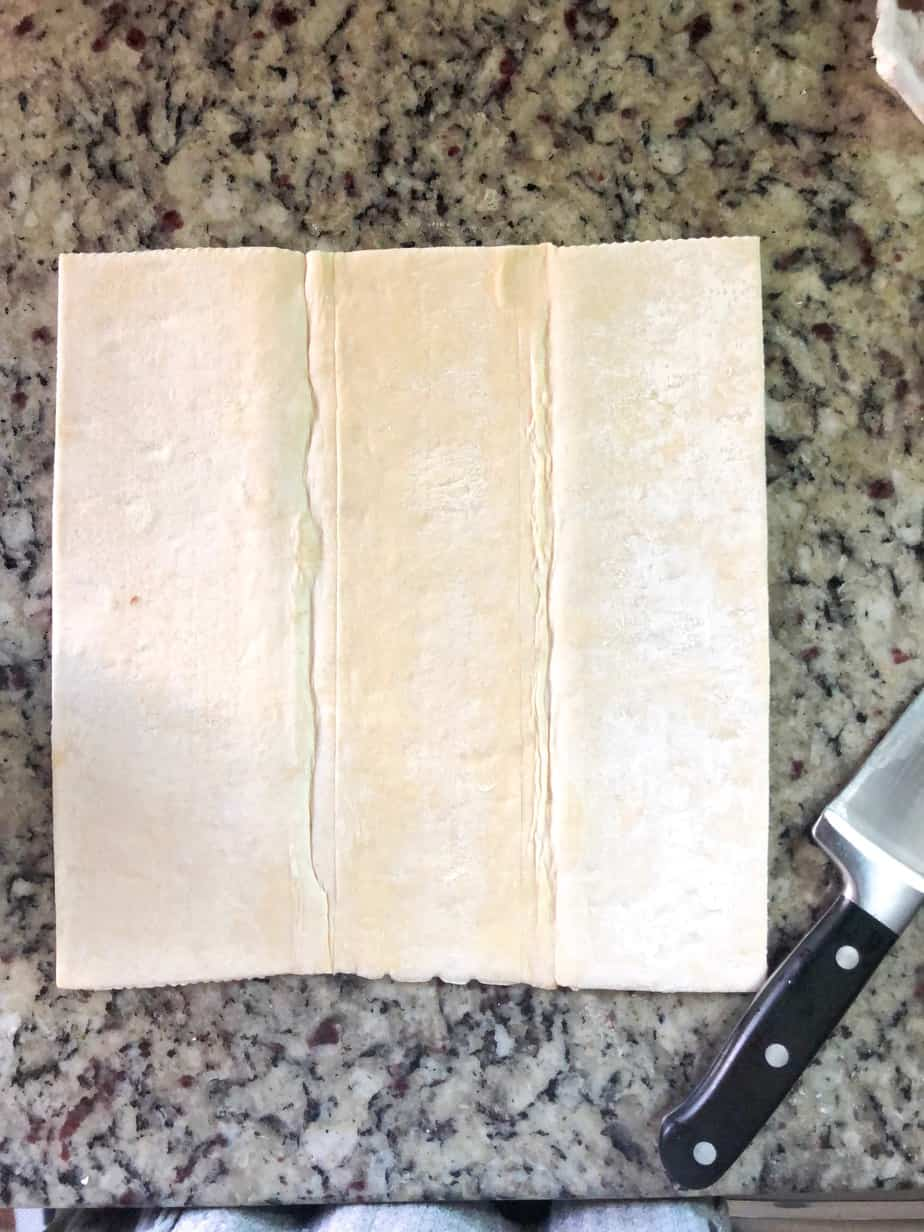puff pastry sheet on counter