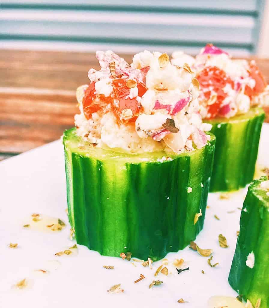 Greek Salad -Horiatiki- Cucumber Cups