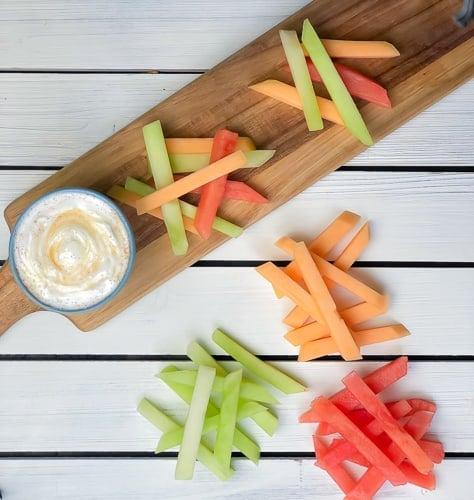 fruit cut into sticks