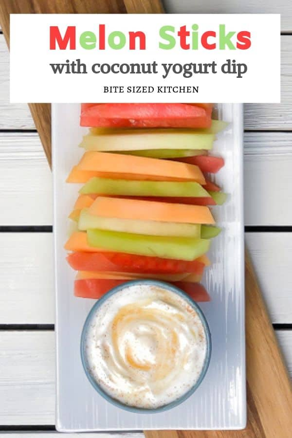 Healthy fruit and melon fries or sticks! A great dessert or snack for any party. Served with a coconut yogurt dip!