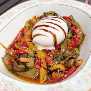Italian Burrata Salad Appetizer With Roasted Peppers and Garlic