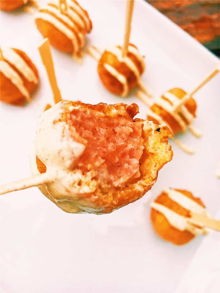 Mini Kielbasa Dijon Corn Dogs Bites on a skewer