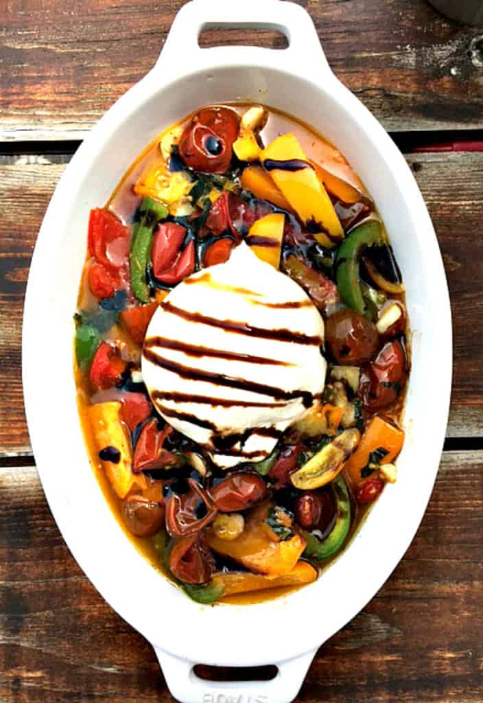 Burrata with roasted veggies abd