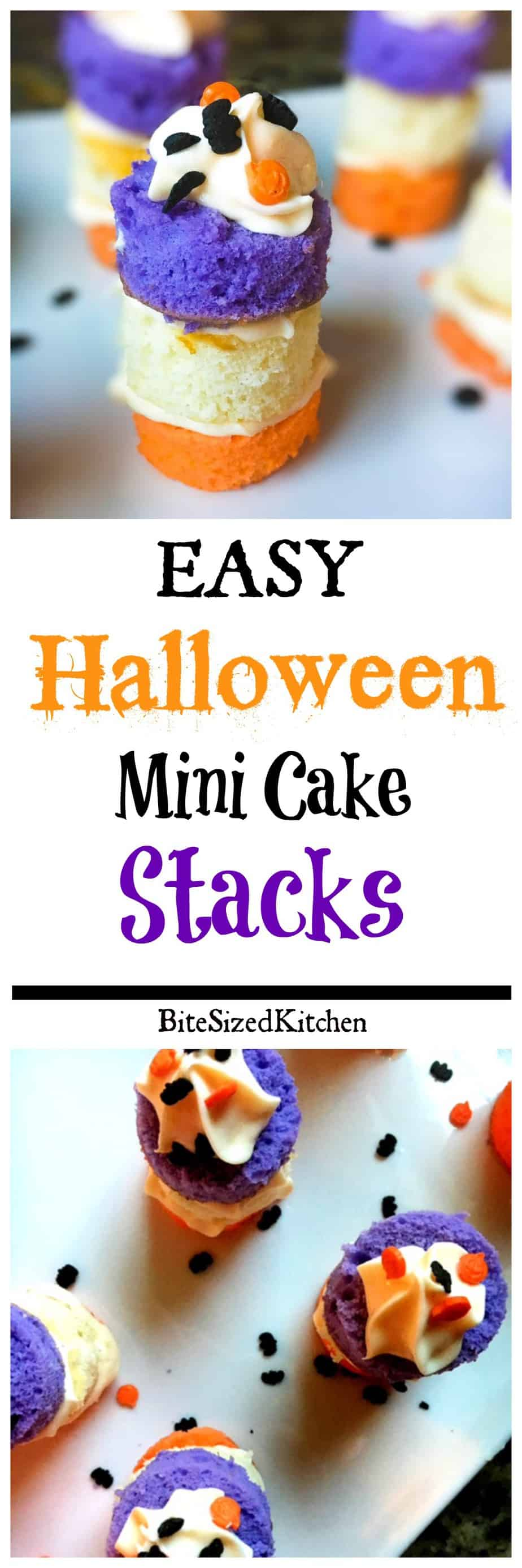 Easy Halloween Mini Cake Stacks perfect for any party! An easy bite sized mini dessert that both kids and adults will love!
