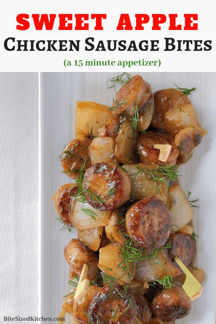 Skewered apple chicken sausage bites! A fun bite sized appetizer perfect for any party or crowd. Make ahead and serve warm!