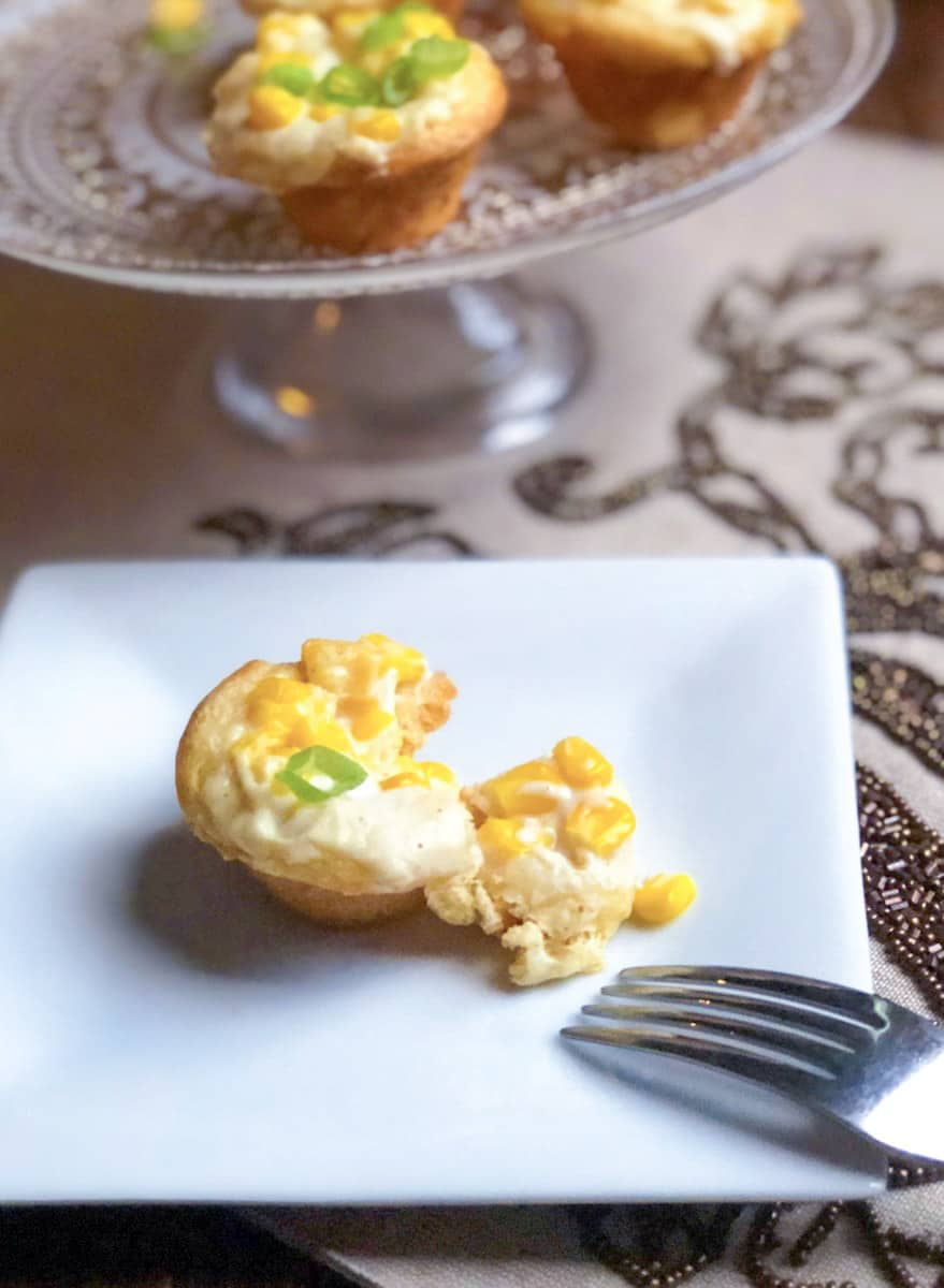 homemade biscuit cups with corn filling