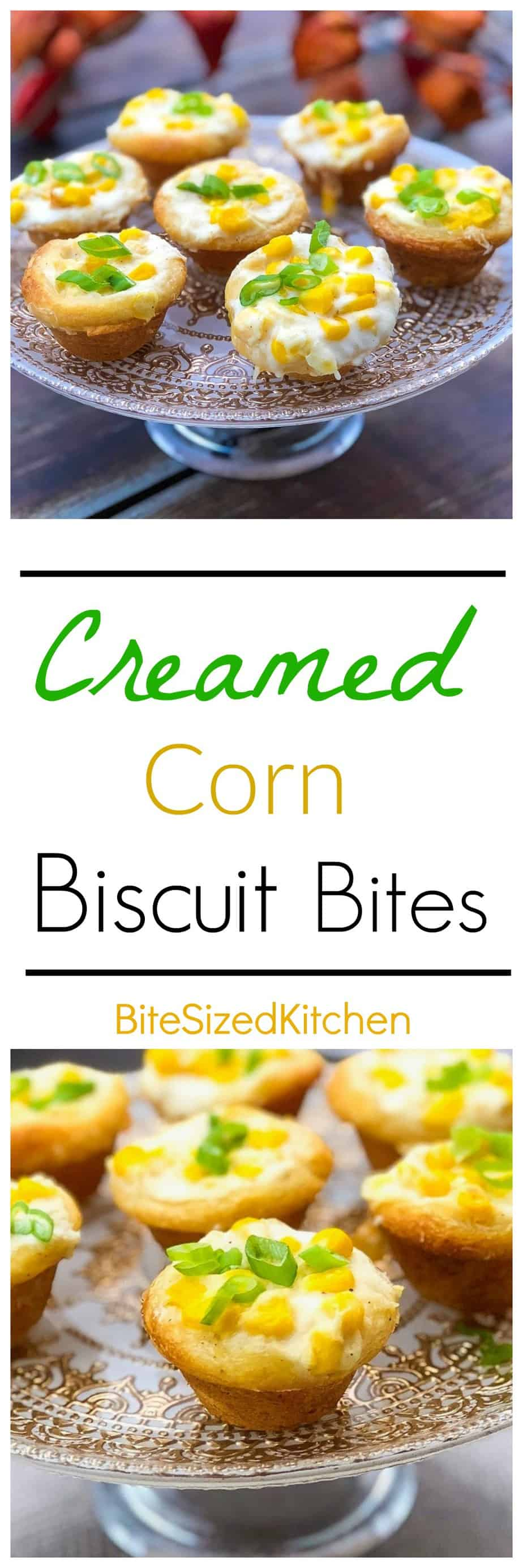 Creamed Corn Biscuit Bites made with Pillsbury biscuit dough. Perfect appetizer for a crowd! Easy and bite-sized!