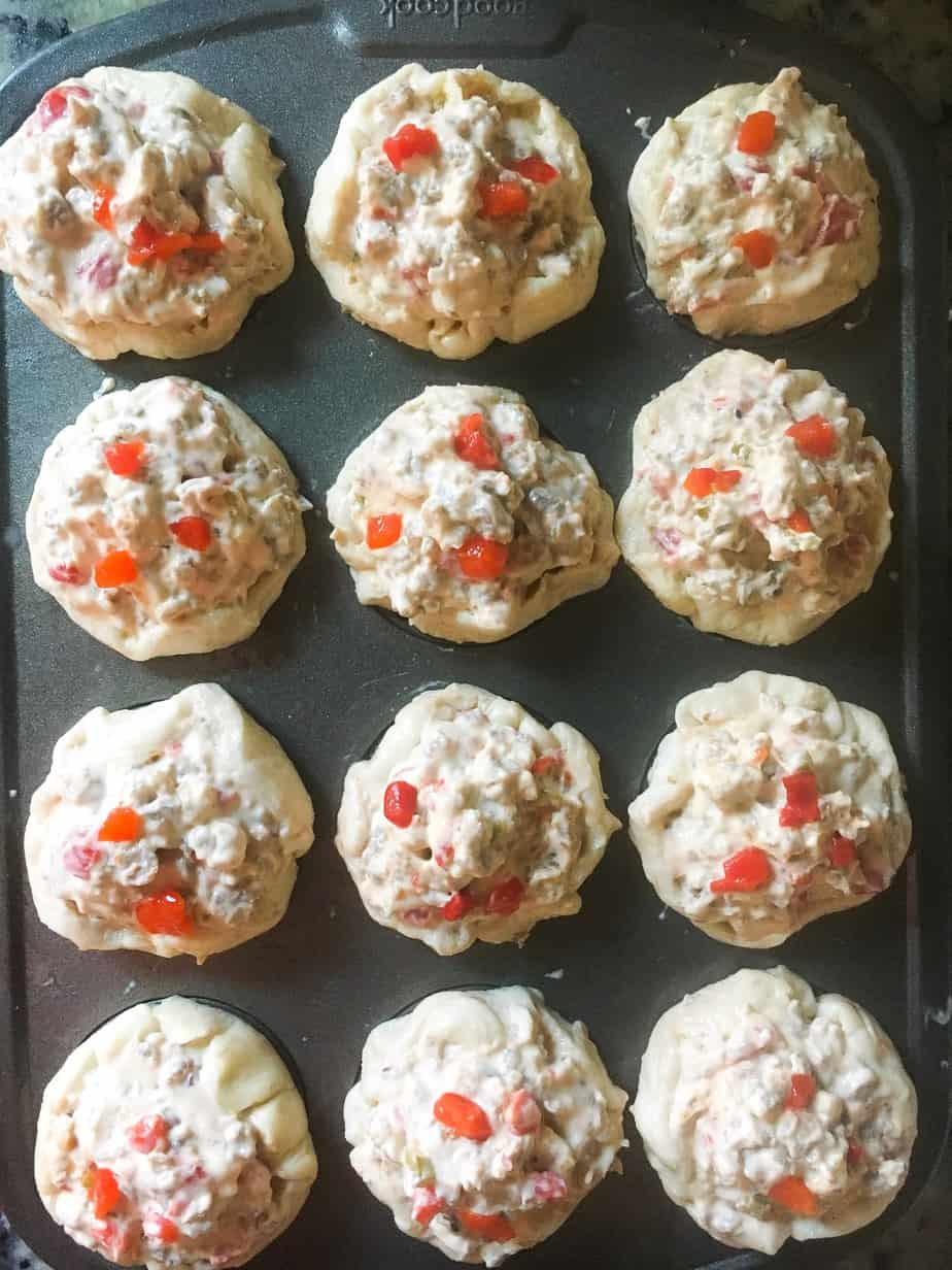 stuffed biscuit cups in muffin tin
