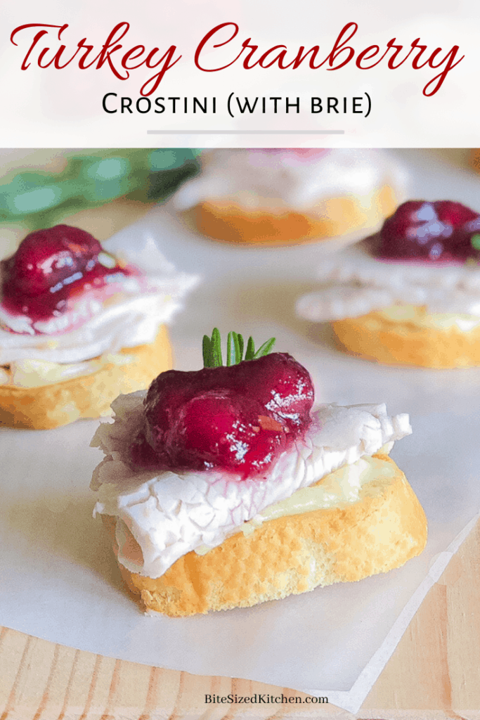 An easy snack or Thanksgiving bruch appetizer using leftover turkey meat, cranberry sauce and brie cheese!