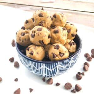 cookie dough balls with chocolate chips in a bowl