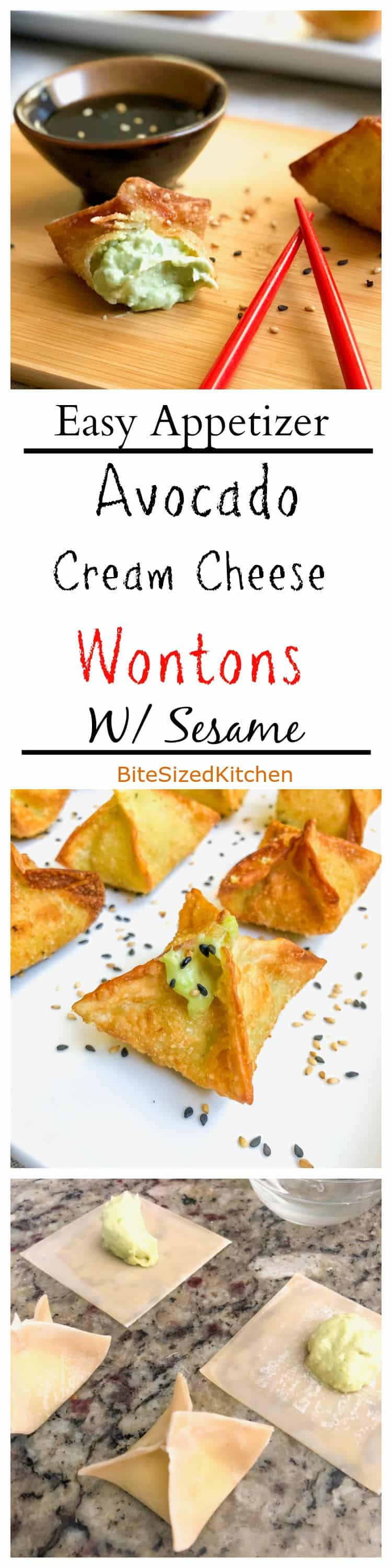 Easy Avocado Sweet Cream Cheese Wontons Appetizer With Sesame Oil