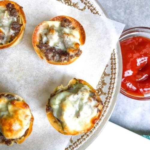 Crispy Philly Cheesesteak Appetizer Idea made in baked wonton cups! A philadelphia classic football recipe.