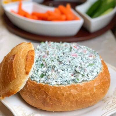 Easy Cold Spinach Dip With Cream Cheese (in bread bowl)