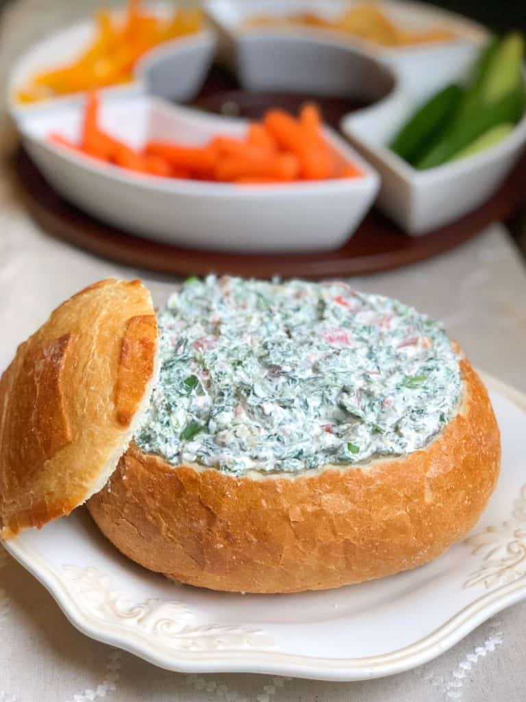 Easy cold homemade spinach dip without mayo! Made with cream cheese and is a great make ahead appetizer dip for anyone! Simple and quick! #spinachdip