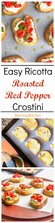 Easy crostini party appetizer recipe | Crostini with ricotta | Roasted red pepper appetizer | How to make crostini | Easy Crostini Appetizer | Crostini Toppings | Garlic Crostini | #appetizer #bitesized #ricotta #crostini