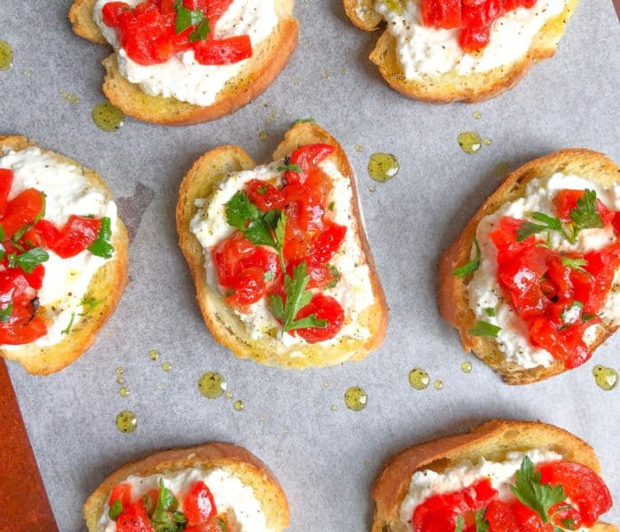 Easy Ricotta Roasted Red Pepper Crostini