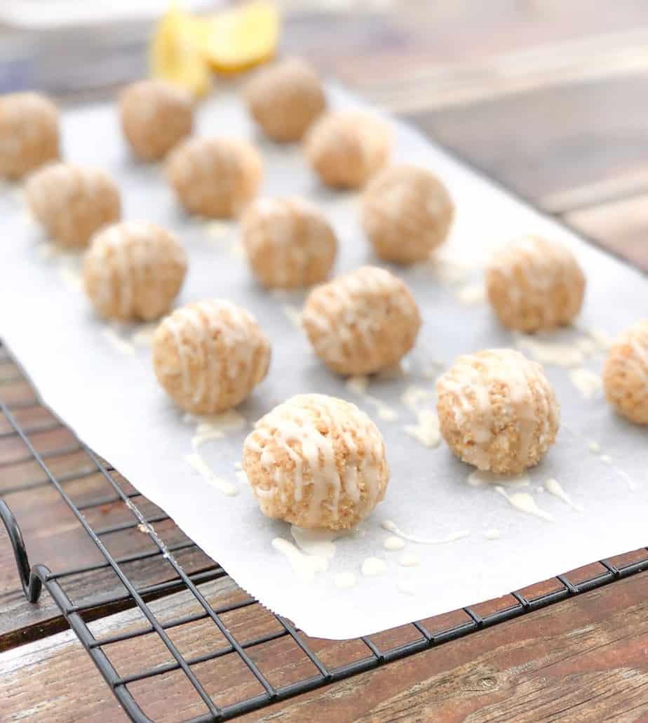 lemon cream cheese truffles on parchment paper