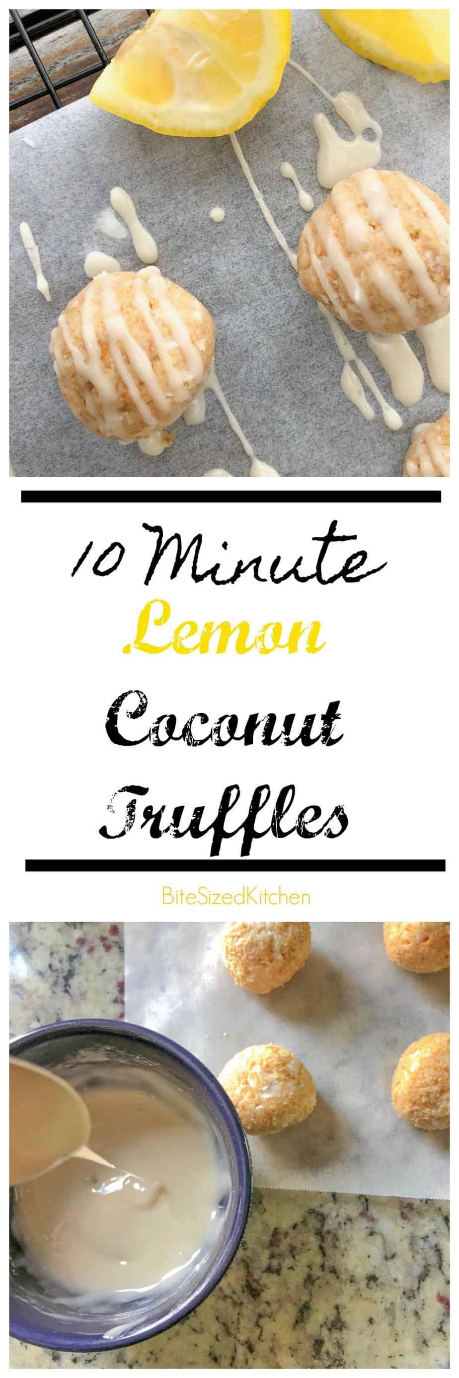Easy No Bake Lemon Coconut Truffles_Perfect Bite-Sized Dessert! Lemon glazed truffles! Quick freezer friendly dessert!