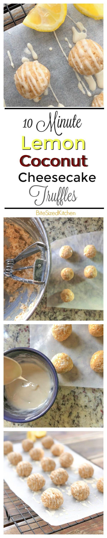 Easy homemade truffle recipe_ No bake lemon coconut cheesecake bites!