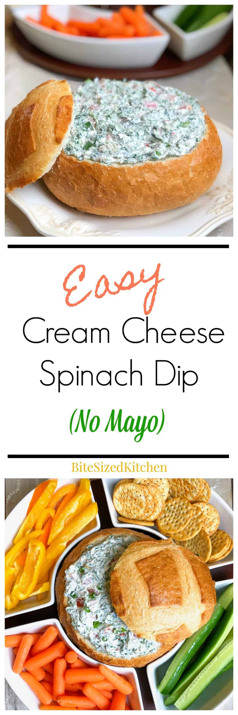 Easy Cold Spinach Dip With Cream Cheese Bite Sized Kitchen