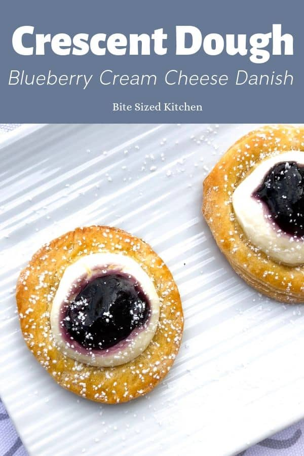 Mini bite sized danish using crescent roll sheet dough and an easy cream cheese filling! These danish are great for kids, bridal showers, baby showers or any party!