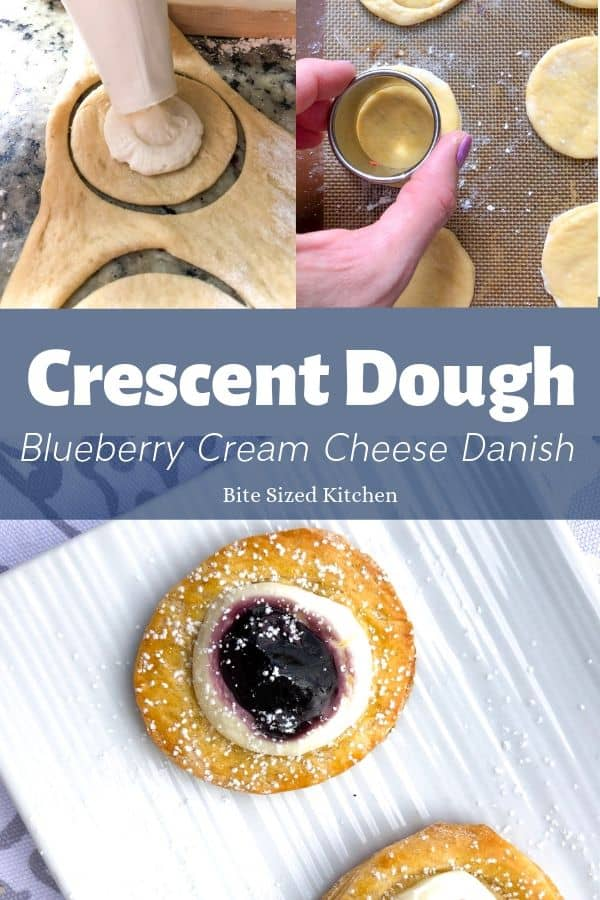 A simple danish recipe using Pillsbury crescent roll rough and cream cheese. A great recipe for brunch or breakfast parties!