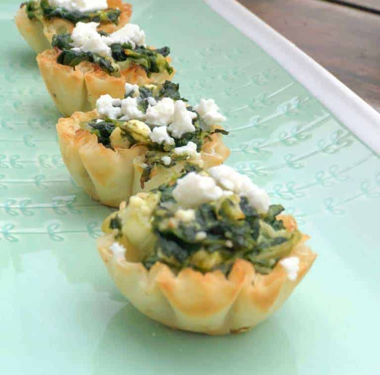 phyllo cup appetizer with spinach and feta cheese