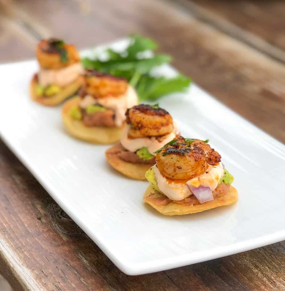 mini shrimp tostadas bites on a plate