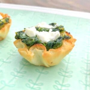 spinach stuffed phyllo cups appetizer on a plate