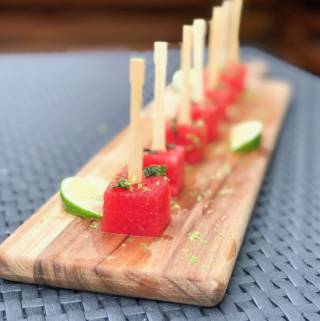 Boozy Watermelon Mojito Skewers