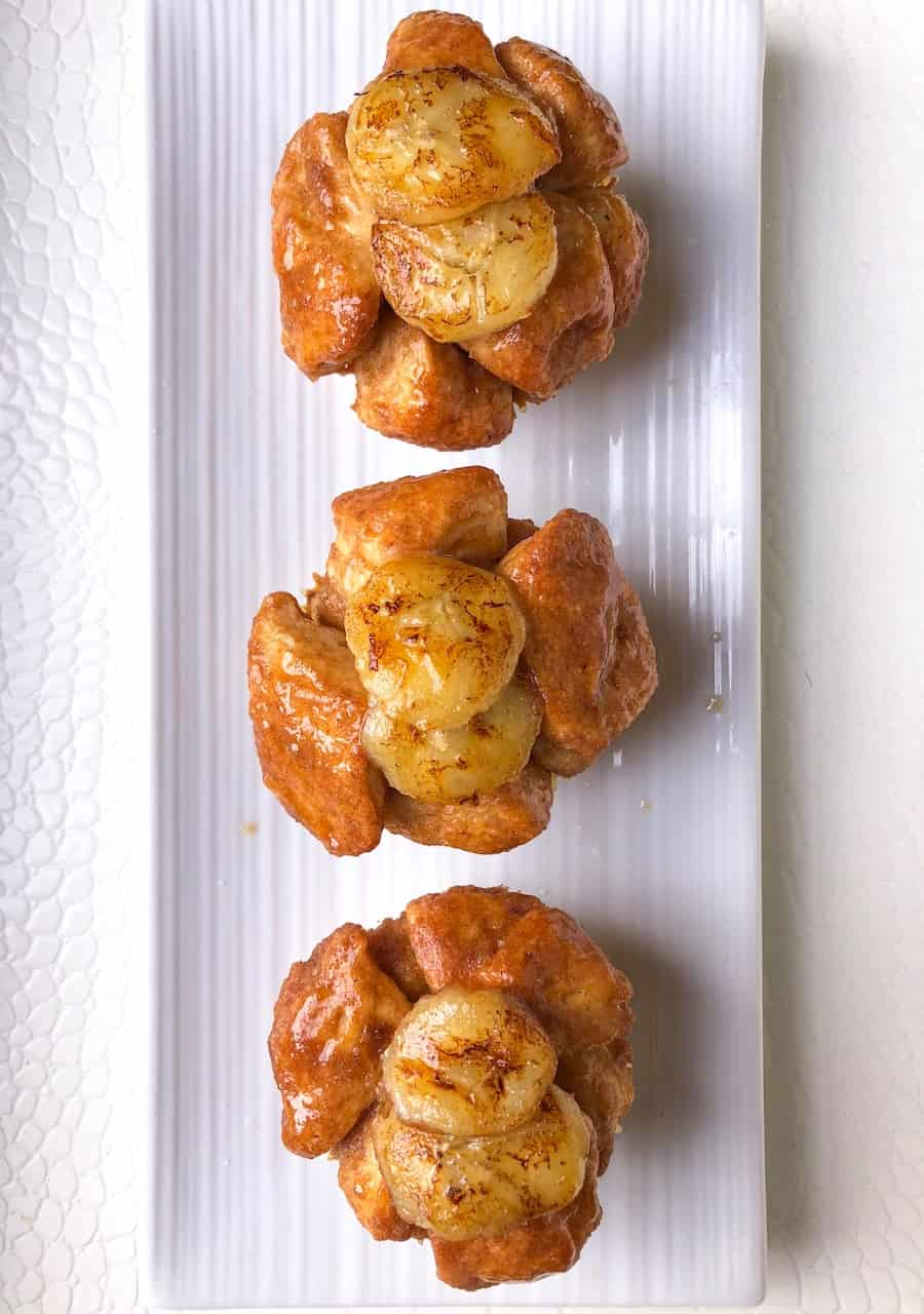 monkey bread pillsbury biscuit muffins with banana pudding