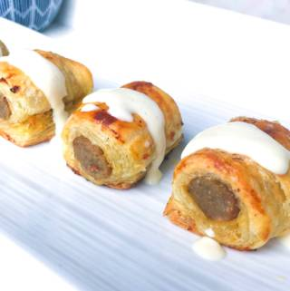 Puff Pastry Sausage Bites with Creamy Dijon Sauce