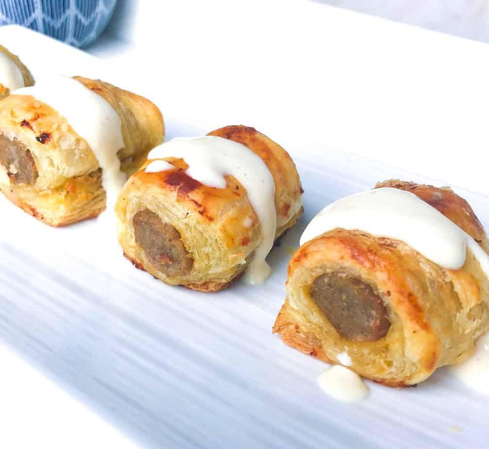Puff Pastry Sausage Bites with Creamy Dijon Sauce
