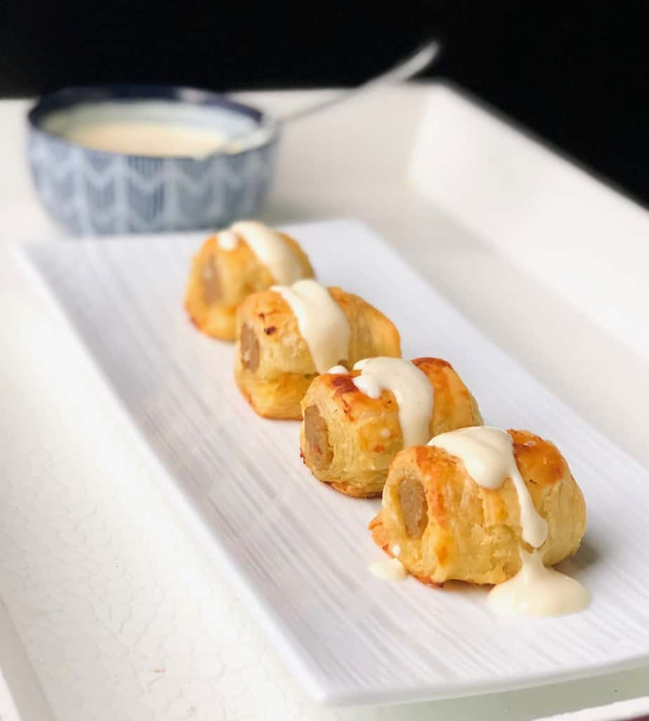 Puff Pastry Sausages Bites with Creamy Dijon Sauce