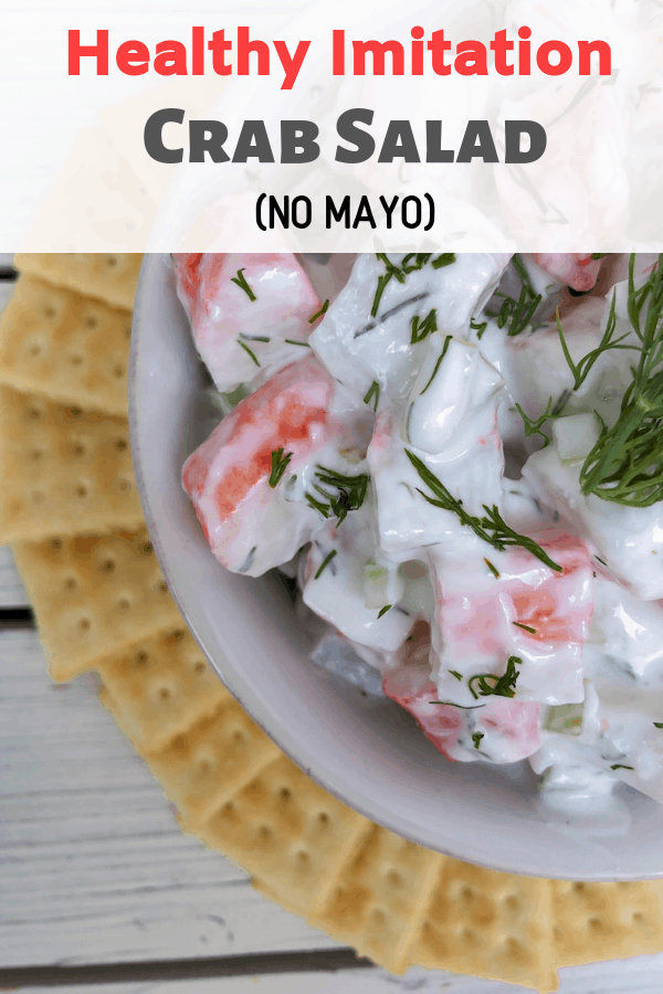 A healthy and delicious crab salad made with imitation crab meat and NO MAYO! An easy appetizer that is cheap and served cold!