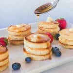 mini pancake stacks on a plate