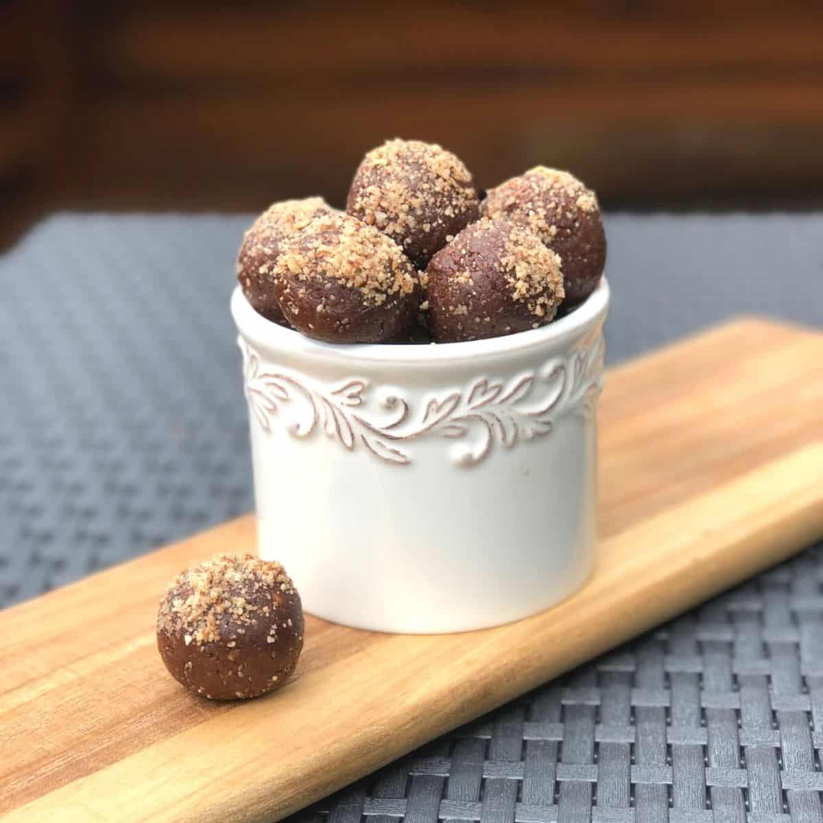 chia balls in a white bowl