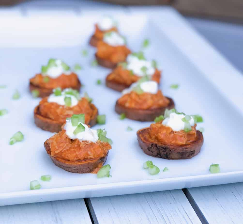 Buffalo chicken sweet potato rounds bite sized kitchen these roasted buffalo chicken sweet potato rounds are an easy make ahead game day appetizer forumfinder Choice Image