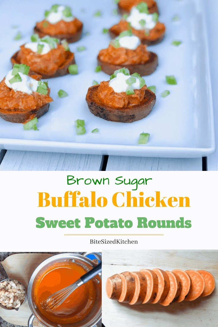 Roasted sweet potato appetizer with shredded chicken and buffalo sauce! Healthy and easy to make ahead. A delicious Thanksgiving Day finger food or holiday party food.