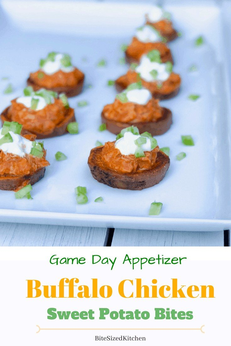 A bite sized delicious game day appetizer! Buffalo sauce shredded chicken on top of a roasted sweet potato round. Perfect finger foods for a crowd and easy to make ahead! #buffalosauce #gamedaybites #appetizer #sweetpotatoes