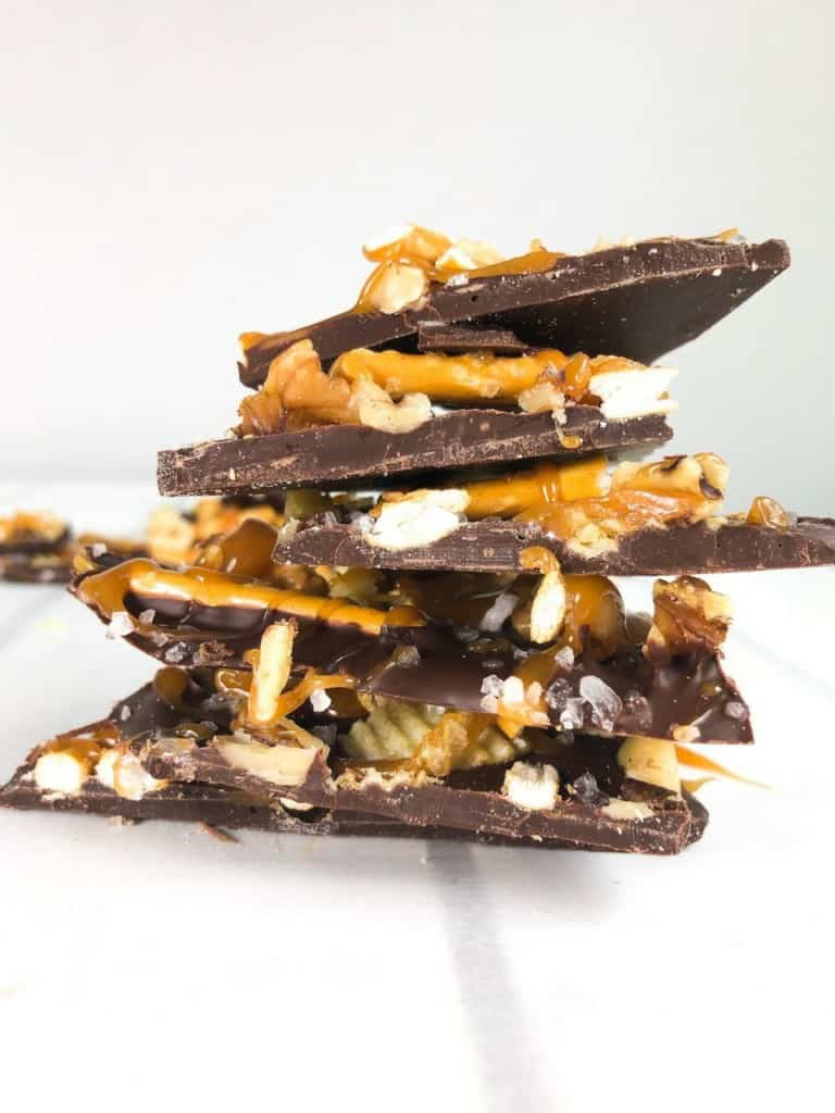 Salted Dark Chocolate Snack Bark stacked
