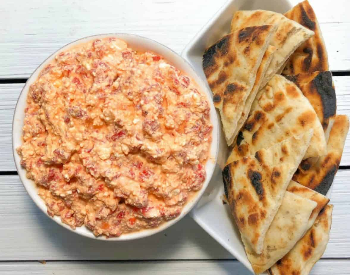Easy Greek dip with just 3 ingredients! Feta, garlic and roasted red peppers is the best for parties! Served cold with pita bread! A healthy 3 ingredient appetizer that you can make ahead! How awesome is that?