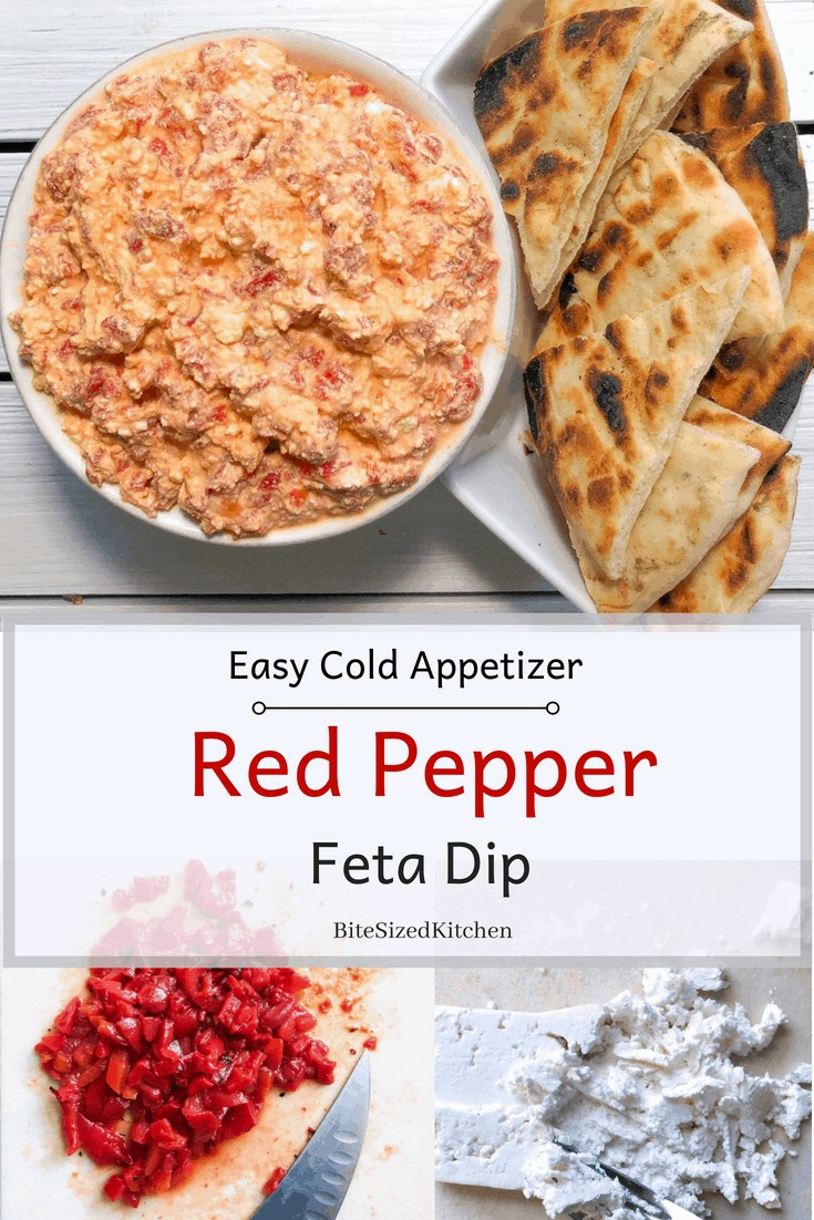An easy COLD Greek dip with just 3 ingredients! Feta, garlic and roasted red peppers is the best for parties! Served cold with pita bread! A healthy 3 ingredient appetizer that you can make ahead! How awesome is that?
